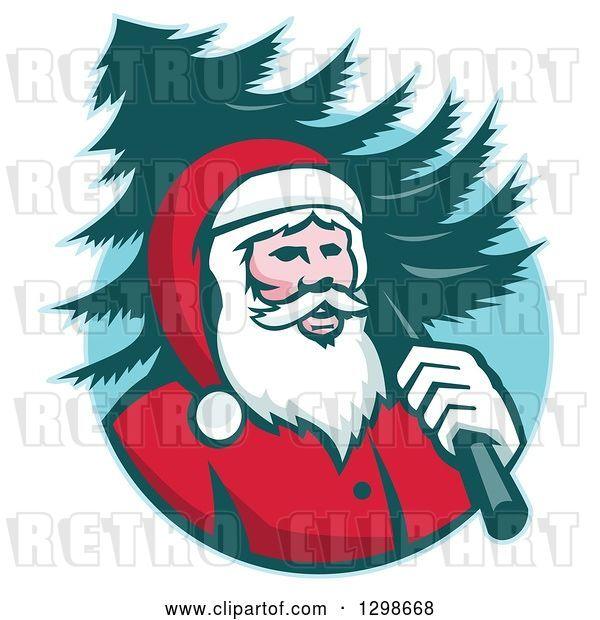 Vector Clip Art of Retro Santa Claus Carrying a Christmas Tree over His Shoulder in a Blue Circle