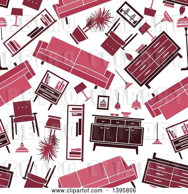 Vector Clip Art of Retro Seamless Background Pattern of Furniture