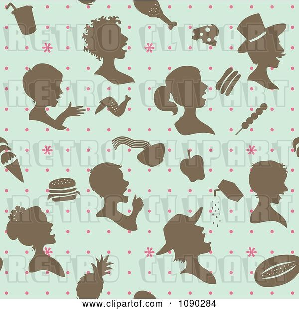 Vector Clip Art of Retro Seamless Blue Brown and Pink People and Food Background