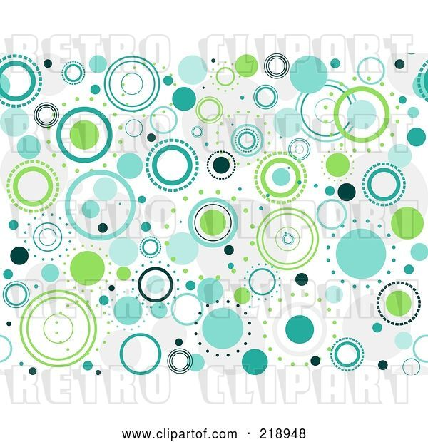 Vector Clip Art of Retro Seamless Funky Background of Blue and Green Circles on White