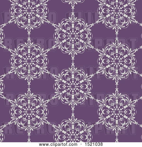 Vector Clip Art of Retro Seamless White and Purple Floral Pattern Background