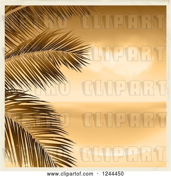Vector Clip Art of Retro Sepia Beach with Palm Branches and a Border