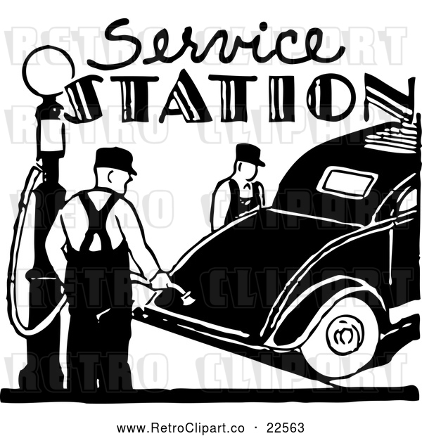 Vector Clip Art of Retro Service Station with a Gas Pump and Car