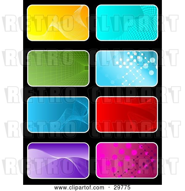 Vector Clip Art of Retro Set of Eight Yellow, Blue, Green, Red, Purple and Pink Backgrounds on Black