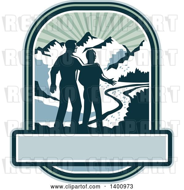 Vector Clip Art of Retro Silhouetted Father and Son with a View of a River and Mountains over a Banner