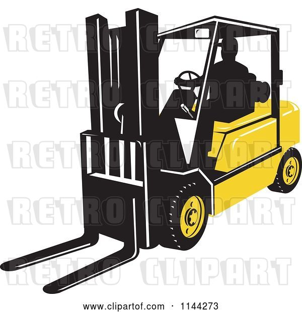 Vector Clip Art of Retro Silhouetted Forklift Operator