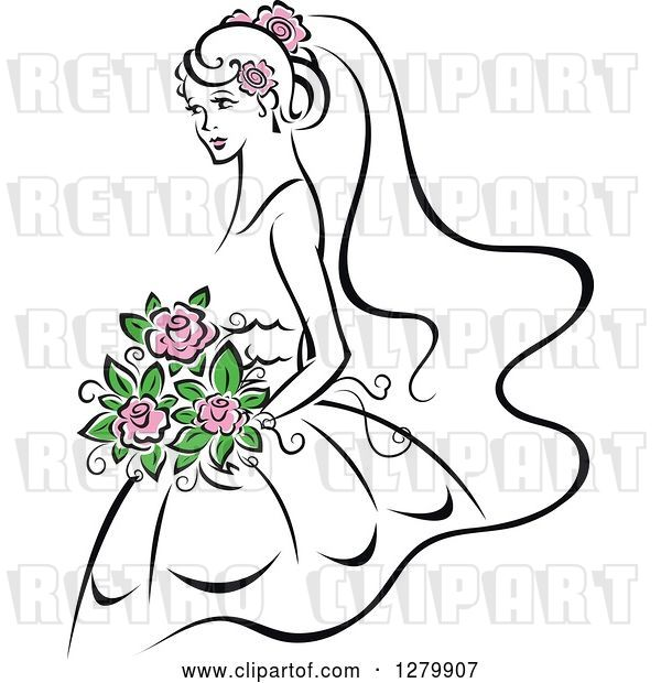 Vector Clip Art of Retro Sketched Bride with Pink Flowers in Her Hair and Bouquet