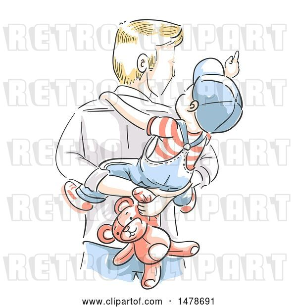 Vector Clip Art of Retro Sketched Dad Carrying His Son and Teddy Bear on His Back