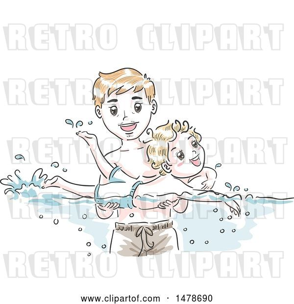 Vector Clip Art of Retro Sketched Dad Teaching His Son How to Swim
