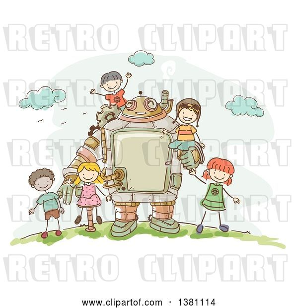Vector Clip Art of Retro Sketched Steampunk Robot and Stick Children Outdoors