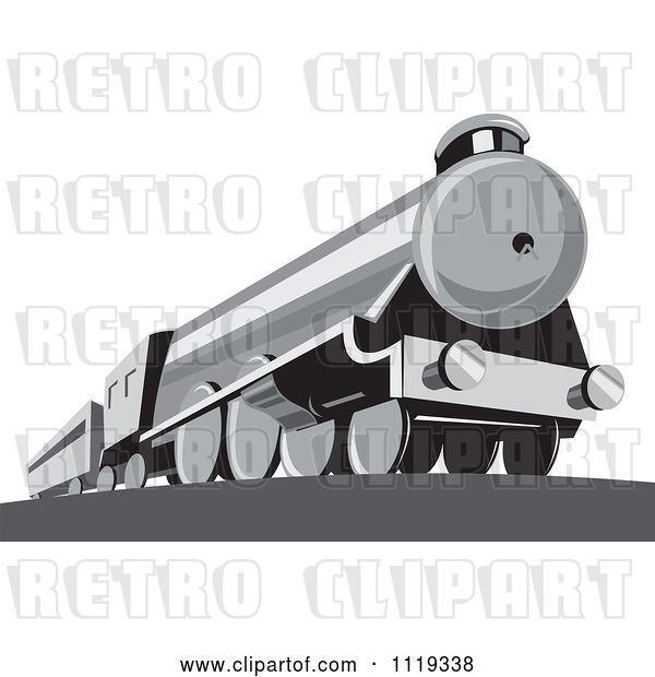 Vector Clip Art of Retro Steam Engine Train