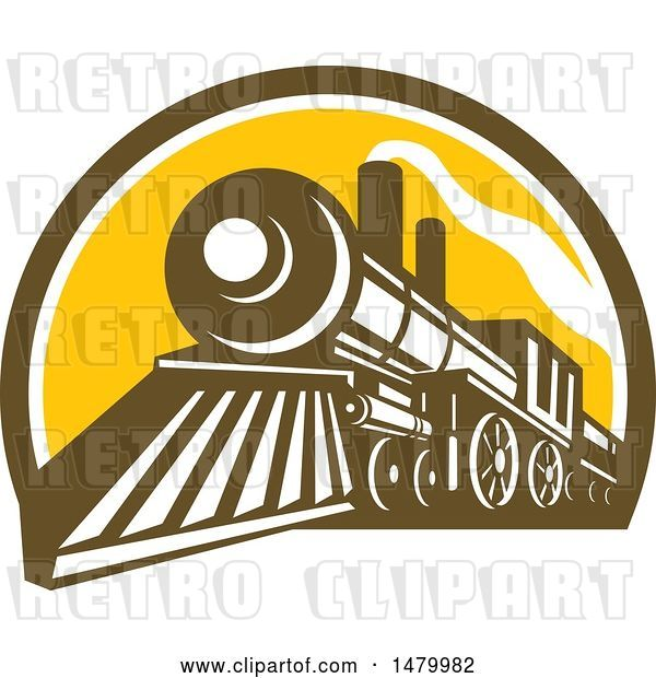 Vector Clip Art of Retro Steam Train in a Brown White and Yellow Half Circle