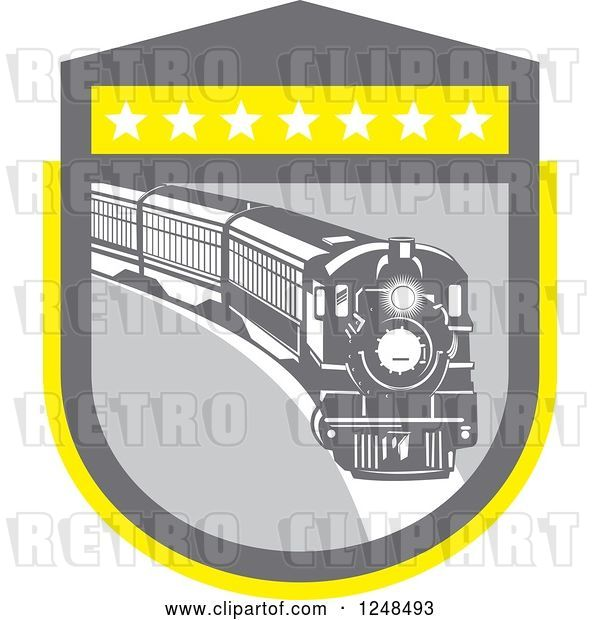 Vector Clip Art of Retro Steam Train in a Gray and Yellow Shield