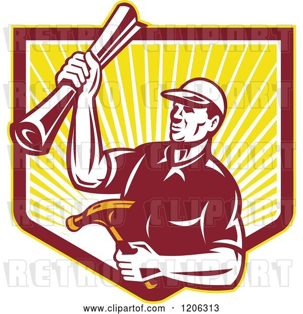 Vector Clip Art of Retro Strong Carpenter Guy Holding a Hammer and Blueprints over a Ray Shield Crest
