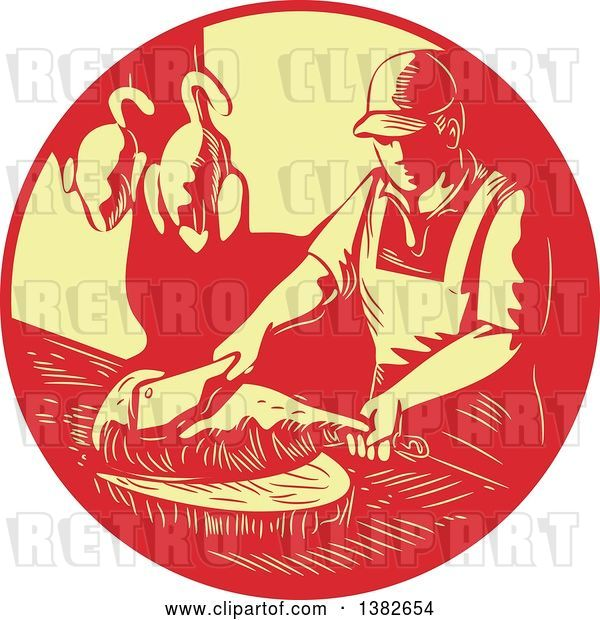 Vector Clip Art of Retro Styled Male Asian Chef or Butcher Chopping Meat in a Red and Yellow Circle