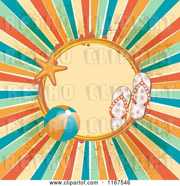 Vector Clip Art of Retro Summer Frame with Sandals a Beach Ball Starfish Grunge and Rays