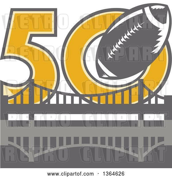 Vector Clip Art of Retro Super Bowl 50 Sports Design with a Gray Football over the Golden Gate Bridge