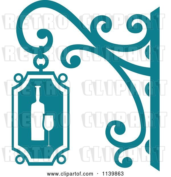 Vector Clip Art of Retro Teal Wine Shingle Sign