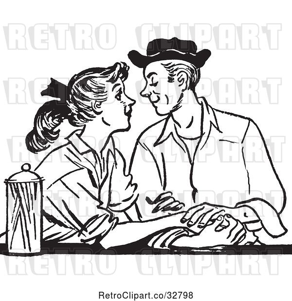 Vector Clip Art of Retro Teenage Couple Gazing at a Diner in