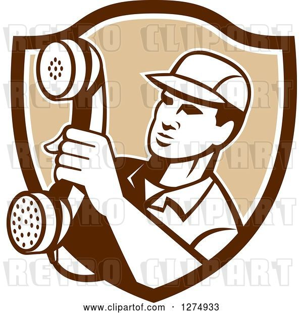Vector Clip Art of Retro Telephone Repair Guy Holding out a Red Receiver in a Brown and White Shield