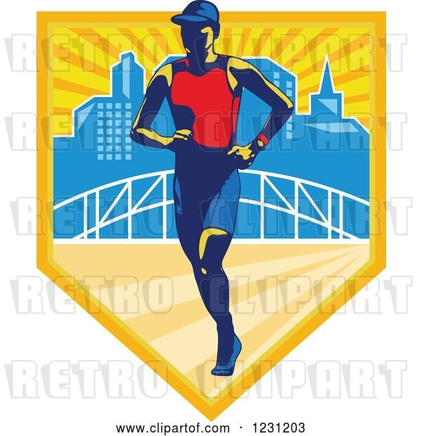 Vector Clip Art of Retro Triathlete Marathon Runner over a Skyline and Bridge in a Shield