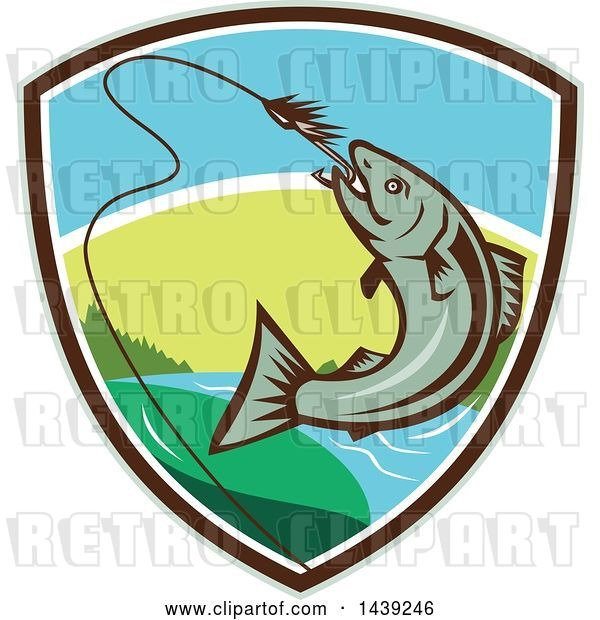 Vector Clip Art of Retro Trout Fish Jumping to Bite a Hook in a Shield