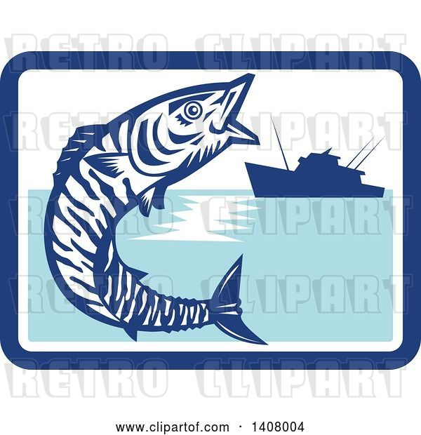 Vector Clip Art of Retro Wahoo Scombrid Fish Jumping near a Silhouetted Fishing Boat in a Blue and White Rectangle