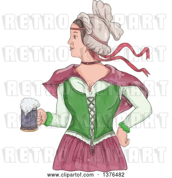 Vector Clip Art of Retro Watercolor Styled Victorian Beer Maiden Holding a Mug
