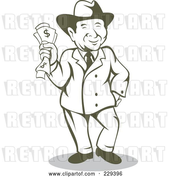 Vector Clip Art of Retro Wealthy Guy Holding Cash