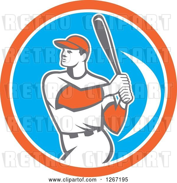 Vector Clip Art of Retro White Male Baseball Player Batting Inside an Orange White and Blue Circle