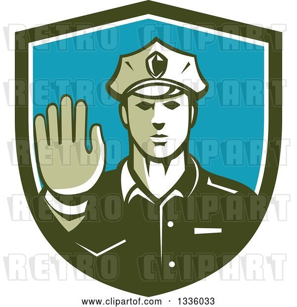 Vector Clip Art of Retro White Male Police Officer Gesturing Stop with His Hand Inside a Green White and Blue Shield