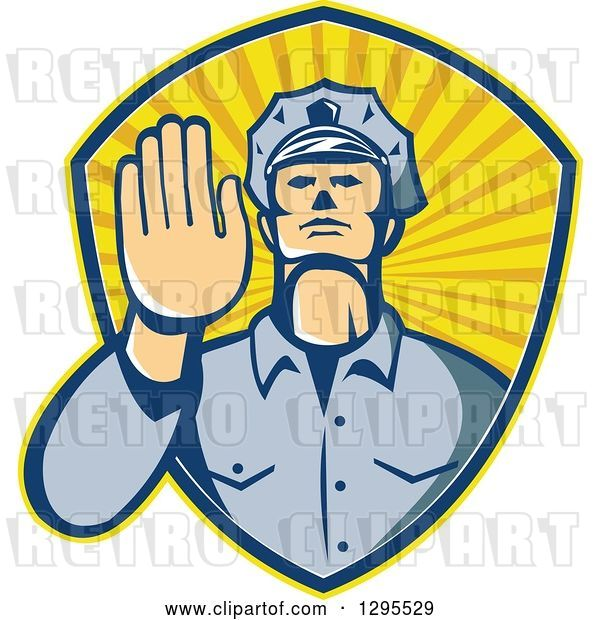 Vector Clip Art of Retro White Male Police Officer Gesturing Stop with His Hand Inside a Ray Shield