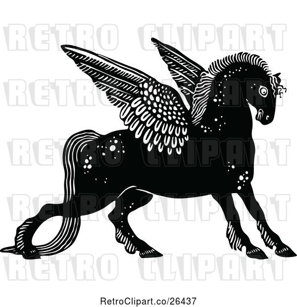 Vector Clip Art of Retro Winged Horse
