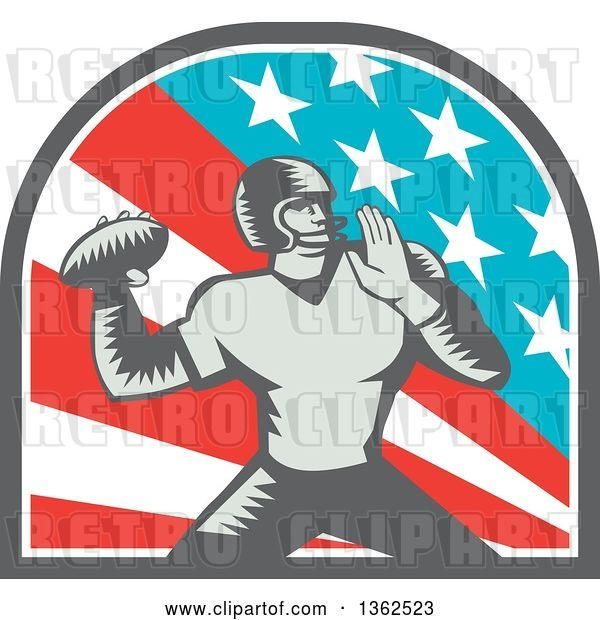 Vector Clip Art of Retro Woodcut American Football Player Quarterback Throwing in an American Arch
