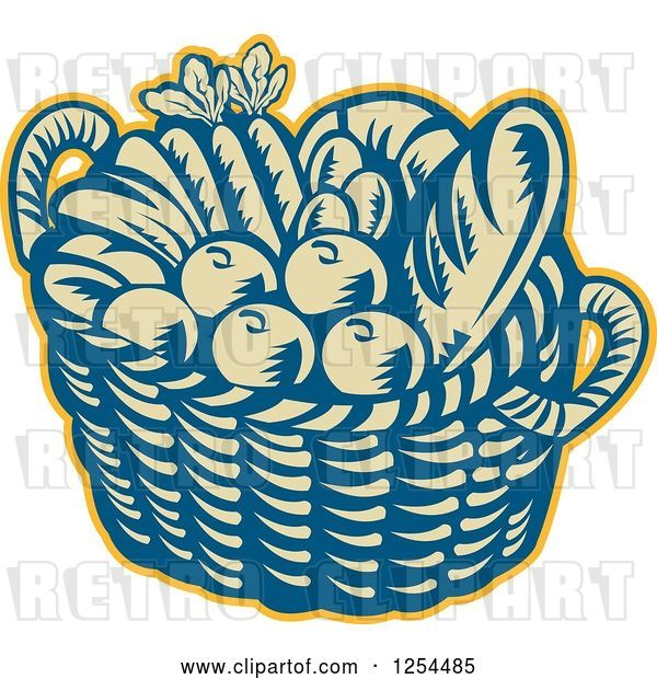 Vector Clip Art of Retro Woodcut Basket of Fruit and Bread