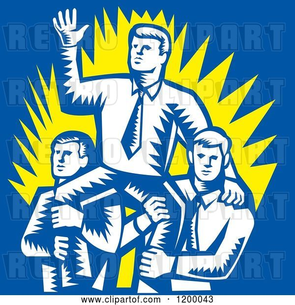 Vector Clip Art of Retro Woodcut Business Man Waving and Being Carried by Colleagues on Blue