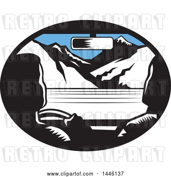 Vector Clip Art of Retro Woodcut Driver and Passenger in a Car, Heading Towards Mountains