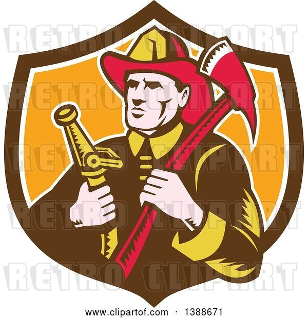 Vector Clip Art of Retro Woodcut Firefighter Holding an Axe and Hose in a Shield
