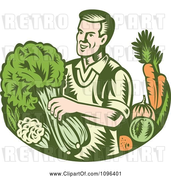 Vector Clip Art of Retro Woodcut Organic Farmer with with Leafy Green and Root Vegetables