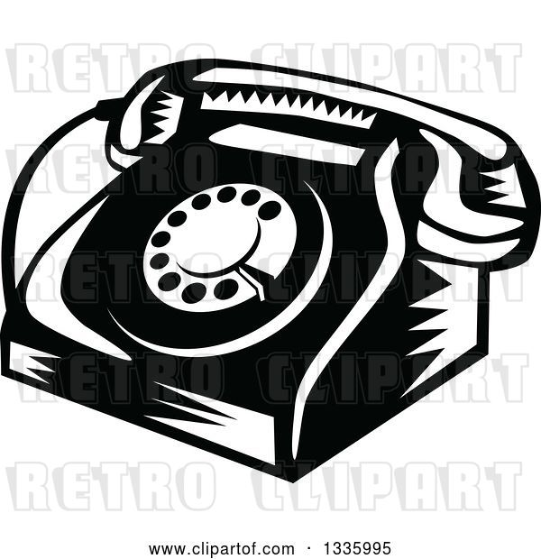 Vector Clip Art of Retro Woodcut Rotary Landline Desk Telephone