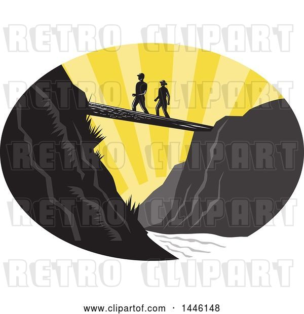 Vector Clip Art of Retro Woodcut Scene of Hikers Crossing a Footbridge over a River at Sunset