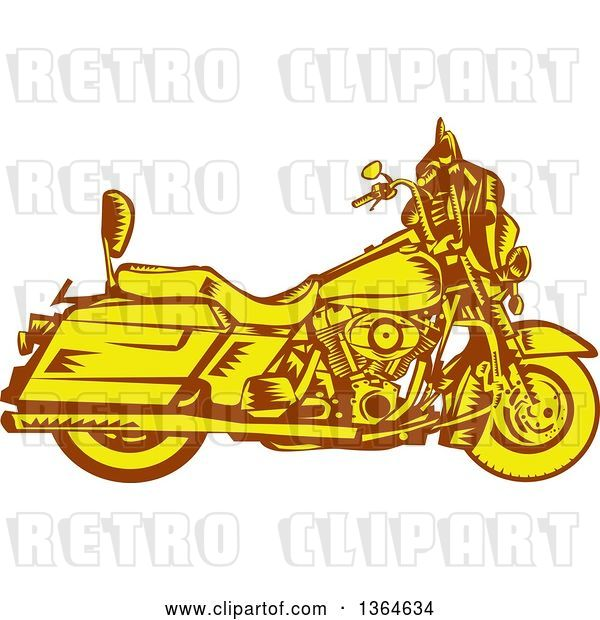 Vector Clip Art of Retro Woodcut Yellow and Brown Motorcycle