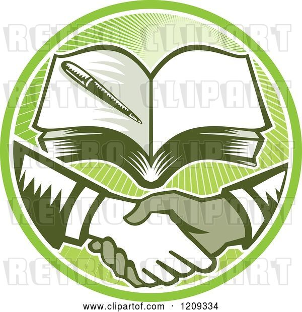 Vector Clip Art of Retro Woodut Men Shaking Hands Under a Book in a Green Sunny Circle