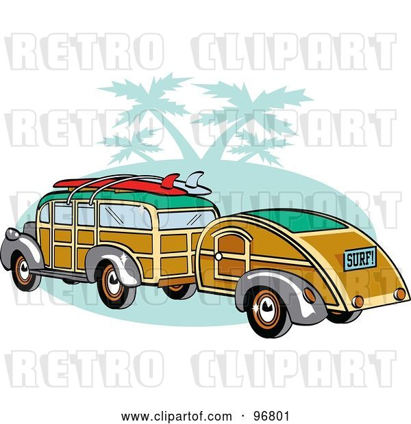 Vector Clip Art of Retro Woody Sedan with Surfboards on the Roof, Pulling a Trailer over Green with Palm Trees