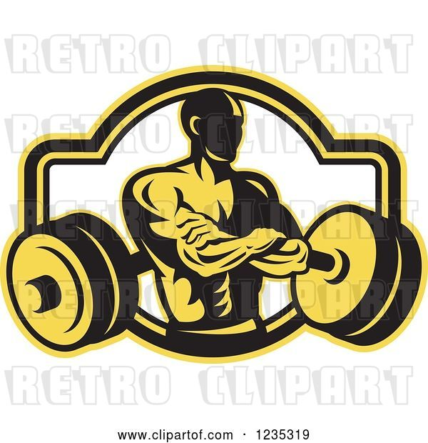 Vector Clip Art of Retro Yellow and Black Bodybuilder with a Barbell