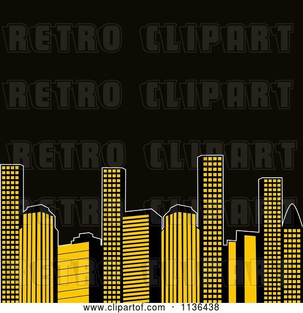 Vector Clip Art of Retro Yellow City Urban Skyscrapers with Black Copyspace