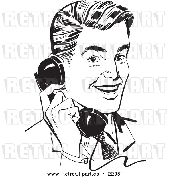 Vector Clipart of a Retro Business Man Chatting on a Phone