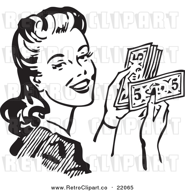Vector Clipart of a Retro Woman Holding Cash