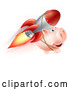 Vector Clip Art of a Retro Piggy Bank Flying with a Rocket Strapped to Its Back by AtStockIllustration