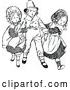 Vector Clip Art of Retro Girls Fighting over a Boy by Prawny Vintage
